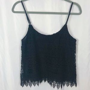 UO Urban Outfitters Black Lace Eyelet Tank Top S